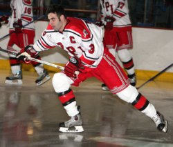 Rensselaer captain Kirk MacDonald hit the ice with the Engineers Saturday night, completing his comeback from his battle with cancer (photo: Kris Qua).