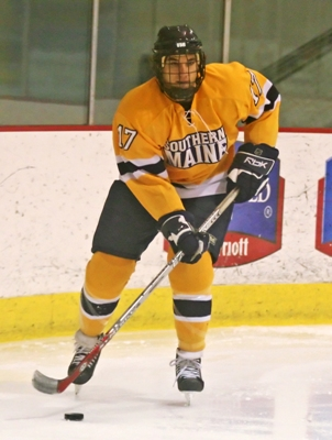 Work ethic and talent have Southern Maine's Zach Joy leading the ECAC East in goal scoring.