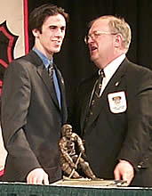 Ryan Miller accepts the Hobey Baker Memorial Award Friday at the Frozen Four.