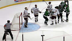 The Sioux celebrate their first goal Saturday.