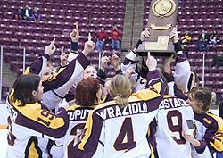 UMD celebrates its win in the inaugural NCAA Frozen Four of 2001.