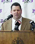 Dave Burkholder speaks at Thursday's news conference to announce his hiring as Niagara's new coach. (photo by Janet Schultz)