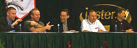 Members of the Championship Committee (l. to r., Jacobs, Wilkinson, McCaw, McDonald, Grahame)  took part in USCHO.com's Town Meeting Friday in Albany, N.Y.