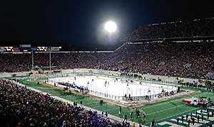 QUITE A SIGHT: Spartan Stadium is electric with college hockey.
