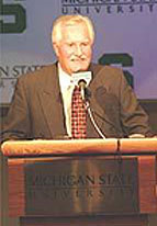 Ron Mason formally announces his decision to step down as head coach, and take the job as MSU's athletic director. (photo courtesy MSU sports information)