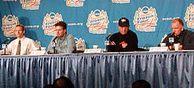 At the coaches' press conference (l-r): Tim Whitehead, Don Lucia, Dick Umile, Red Berenson