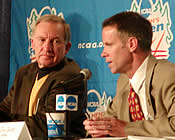 NCAA President Cedric Dempsey (l.), who is retiring after this year, appeared at the Frozen Four to discuss hockey's future. NCAA Director of Championships Tom Jacobs was there as well (photo: Ed Trefzger)