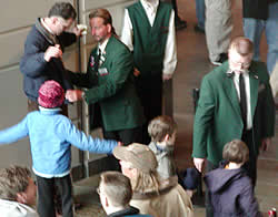 Fans entering the Xcel and their bags were searched -- a familiar scene in the post-Sept. 11 world.