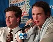 Don Lucia (l.) and John Pohl at the postgame press conference (photo: Ed Trefzger)