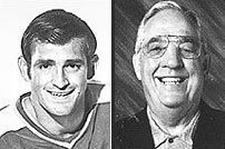 Lou Nanne (l.), shown in his playing days, skated for the Gophers and the NHL's Minnesota North Stars; Glen Sonmor (r.) coached the Gophers in the early '70s.