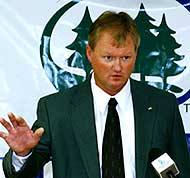 Bruce Olson was introduced as the new women's coach at Bemidji State on Friday.