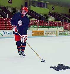 Known for his work ethic, Radoslovich is often the first on and the last off the ice at practice.
