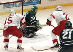 Darren Gastrock (in net) and Dan Yacey contend for the Big Green's goaltending minutes this season (photo: eLynah.com).