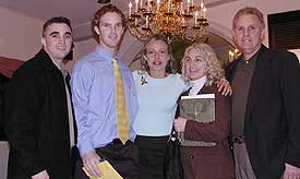 Exter's support staff throughout the ordeal (l. to r.): brother Dave Exter, himself, Erin Van Bruggen, mother Donna Exter, father Mark Exter.