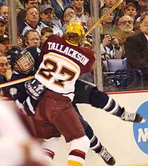 Barry Tallackson -- all 6-4, 211 pounds of him -- goes hard into a UNH defender during the 2003 NCAA title game (photo: Talya Arbisser).