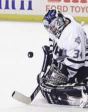 Michael Ayers might not be a Hobey Baker finalist, but he's no slouch in the UNH nets (photo: James Schaff).