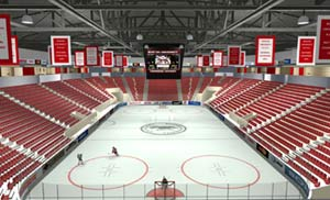An computer artist's rendering of the inside of the soon-to-be completed Harry Agganis Arena at BU.