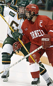 Mac Faulkner (l.), here battling with Ryan Vesce, hopes to lead a Clarkson resurgence (photo: Christopher Lenney).