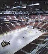 The First Union Center's hockey setup. Seating capacity is 19,500.