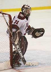 The goaltending of Ali Boe could be crucial in Harvard's quest for first NCAA title