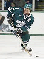 Michigan State's Jim Slater is a Hobey candidate, and he hopes to lead the Spartans into first place this weekend.