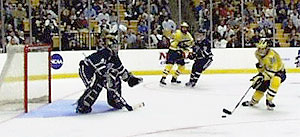 In 1998, New Hampshire finally made the Frozen Four, but met its match in the upstart Wolverines.