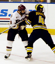 Patrick Eaves and Burnes tangle during the East Regional.