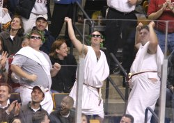 The togas were out in force at the FleetCenter (photo: Pedro Cancel).