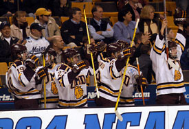 The UMD bench celebrates a quick 2-0 lead in the game.  (Photos:  Tim McDonald)