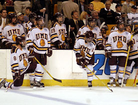 Later on, the UMD bench looks on as a potential-tying goal was disallowed.