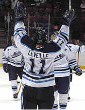With Jimmy Howard's departure, Michel Leveille's contributions are magnified for the Black Bears (photo: Timothy Muir McDonald).