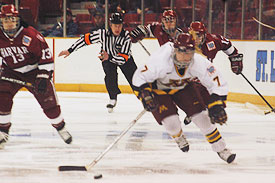 2005 Patty Kazmaier winner Krissy Wendell (foreground) is among the stars of the Gopher women's decade of success (photo: Tim McDonald).