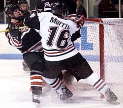 Morris crashes the net against the Tigers.