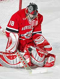 Nathan Marsters holds the Rensselaer career records for games played, starts, saves and goals against average (file photo: David Silverman, RPI Sports Info).