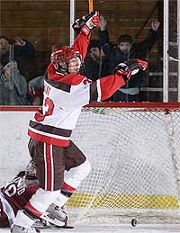 St. Lawrence advanced in the ECAC playoffs with two OT wins.