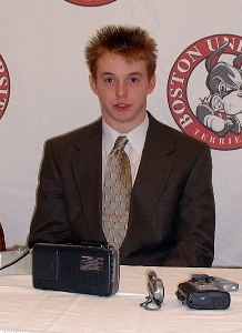 BU netminder John Curry answers questions postgame.