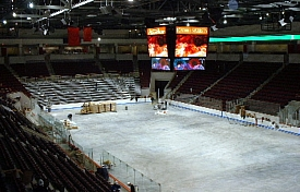The Agganis Arena ice surface nears playing condition (photos: Scott Weighart).
