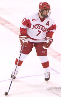 David Van der Gulik's hat trick only earned BU a tie with UML (photo: Melissa Wade).
