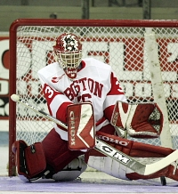 John Curry mans the BU nets again after a breakout performance in 2004-05.
