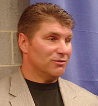 Ray Bourque was a Hall of Fame NHL defenseman, then coached his son Chris at Cushing. Chris was drafted Saturday. (photo: Jim Connelly)