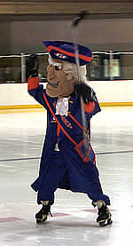 The Hobart Statesman mascot in action.