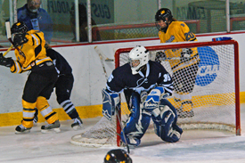 Middlebury goaltender Kate Kogut made 25 saves in the third period, setting an NCAA record.