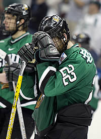 UND senior Brian Canady after the Sioux's loss in the national title game (photo: Melissa Wade).