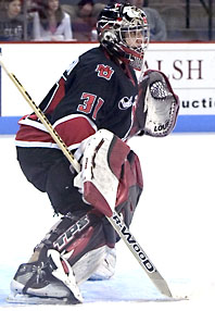 Keni Gibson will leave Boston as the Huskies' top statistical netminder ever (photo: Melissa Wade).