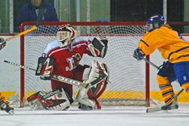Plattsburgh goaltender Carolyne Roy topped 5,000 career minutes in tonight's game. (Photo: Angelo Lisuzzo)