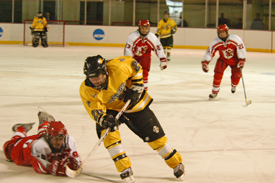 A phantom tripping call on Plattsburgh's Chantalle Rye ended the Cardinals 5-on-3 power play.