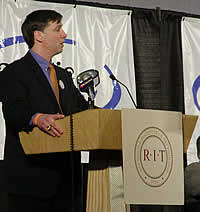 RIT head coach Wayne Wilson speaks to students, staff, alumni and fans at the announcement. (Photos: Ed Trefzger)