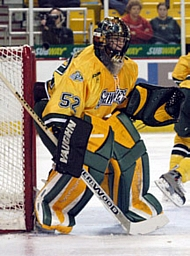 Goaltender Nathan Lawson needs some help from his teammates to lift UAA this season (photo: UAA sports information).