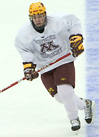 Tyler Hirsch practiced with the Gophers on Wednesday as he prepared to return to the lineup. (photo: Melissa Wade)
