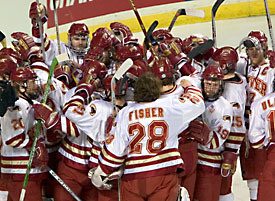 The defending NCAA champion Pioneers are among four WCHA teams headed to Columbus (photo: Melissa Wade).